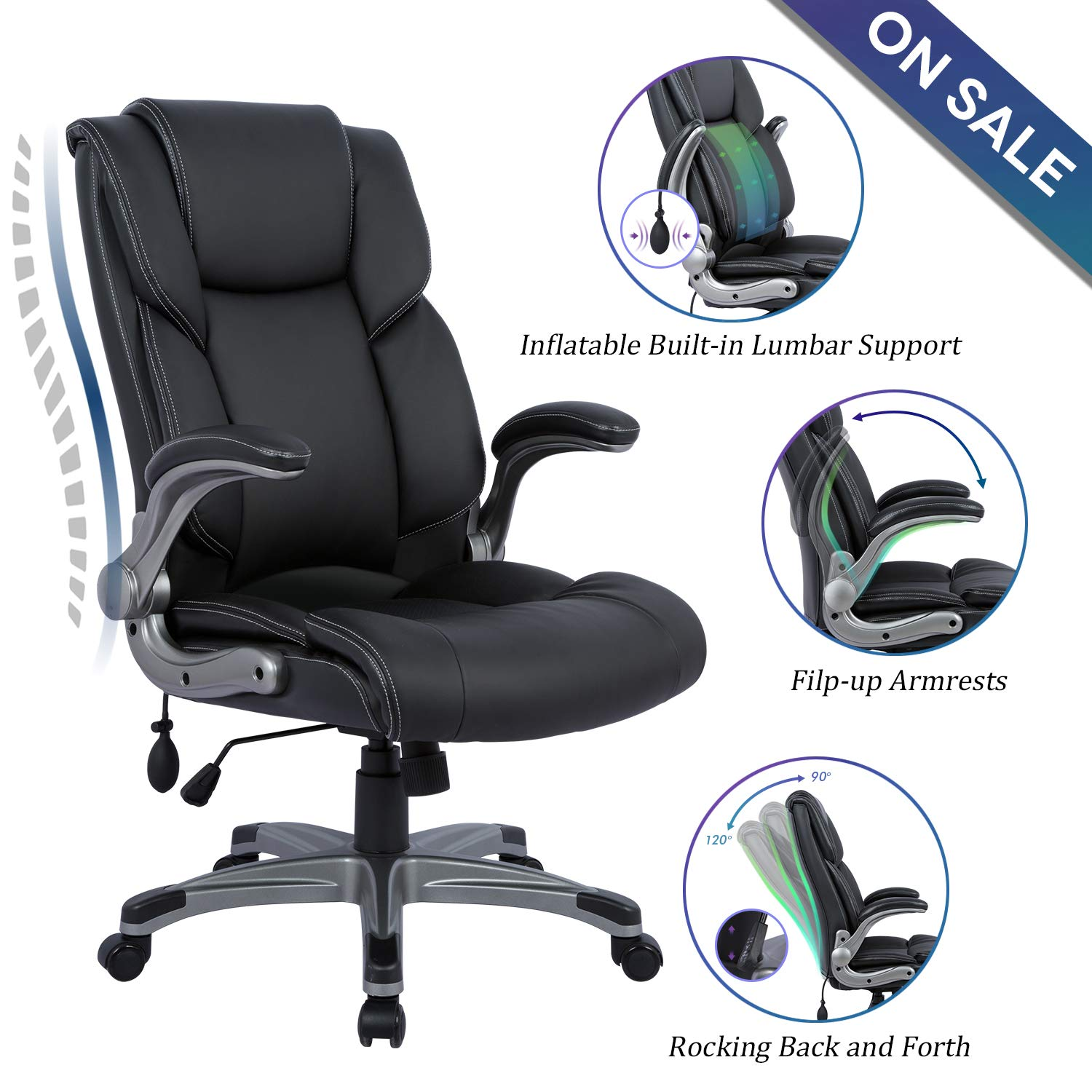 Statesville High Back Office Chair – Ergonomic Computer Desk Executive Task Swivel Chair – Adjustable Built in Lumbar Support, Tilt Angle and Flip-Up Arms, 360 Degree Rotation for Workers Students