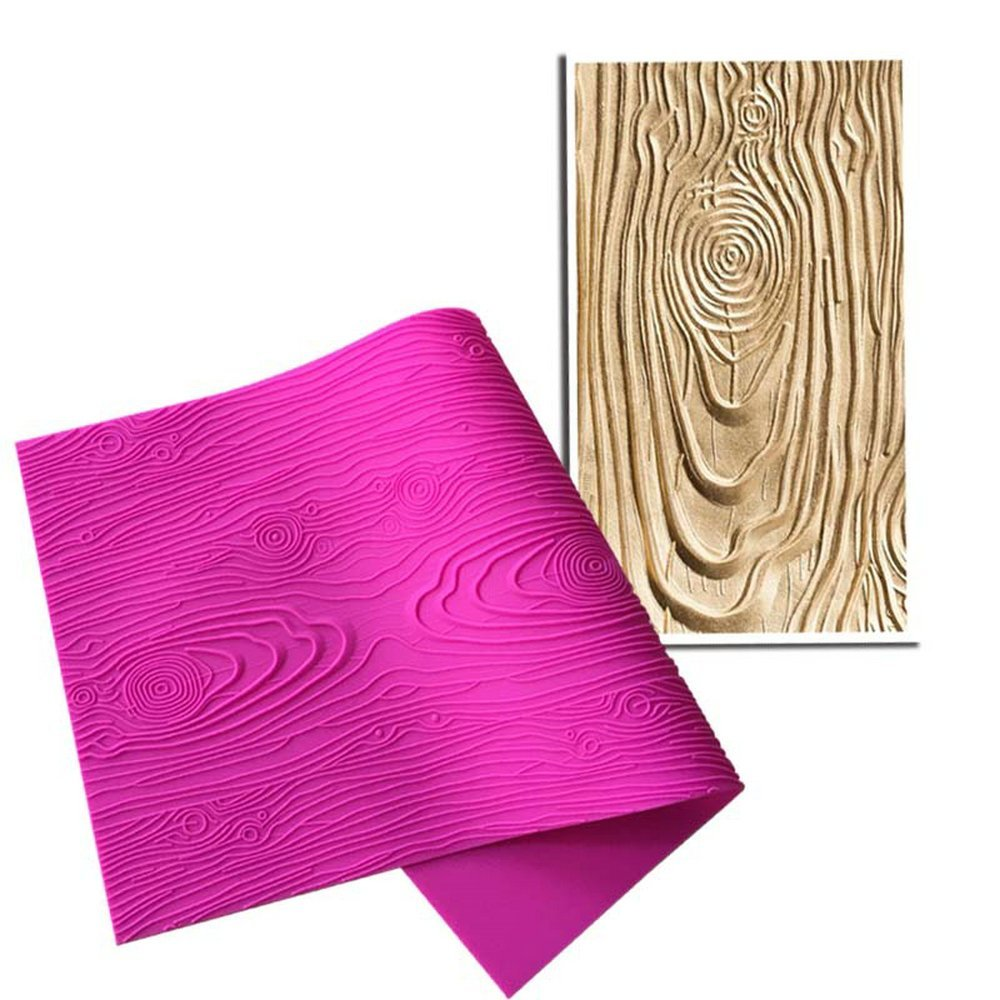 AK ART KITCHENWARE Woodgrain Fondant Impression Mat Silicone Cake Lace Mold Cake Texture Mat Pink BLM-23 by AK ART KITCHENWARE