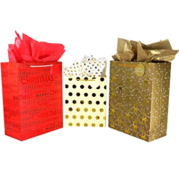 Christmas Gift Bags Bulk.Christmas Gift Bags Bulk Set Includes 6 Extra Large 4 Large With Handles And Tags Gold Metallic Foil