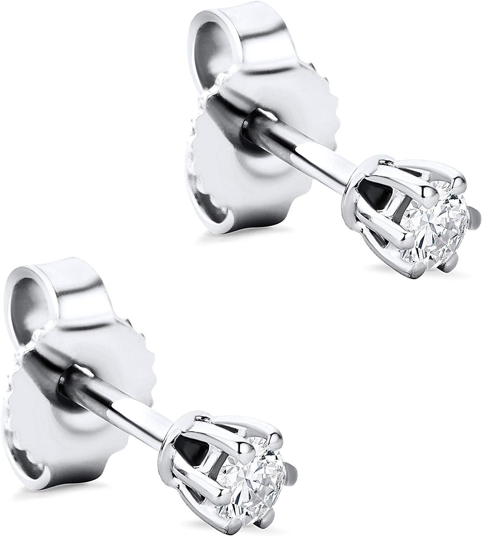 Orovi - Pendientes para mujer con diamantes de oro blanco de 9 quilates (375) y diamante de 0,12 quilates