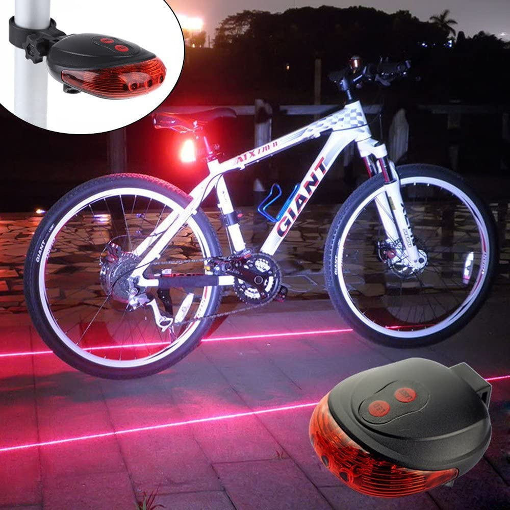 Bicycle Laser Tail Light 2 Laser 5 LED Bike Safety Warning Back Rear LED Flash