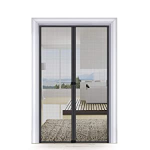 MAGZO Screen Door Magnets 32 x 80, Mosquito Door Mesh with Full Frame Hook&Loop for Patio Door Keep Bugs Insects Out