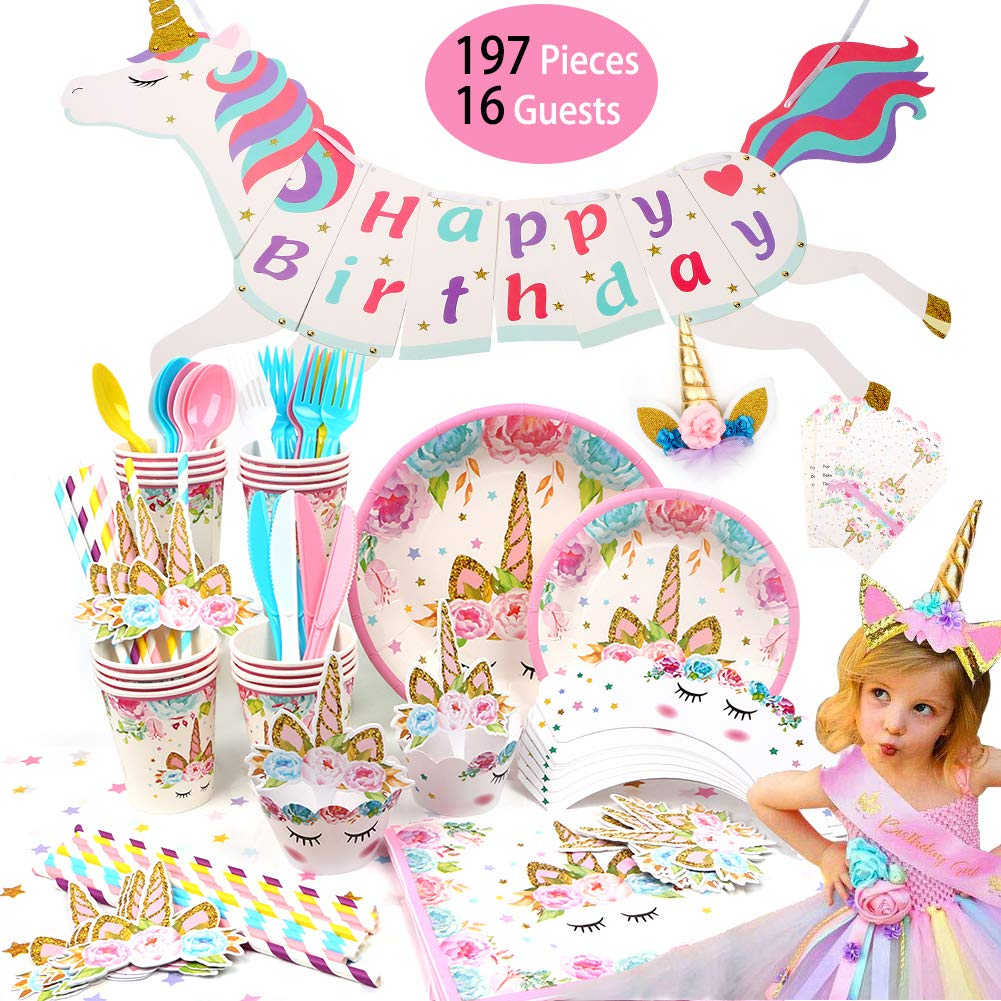 Unicorn Party Supplies-197PCS Birthday Decorations & Tableware Kit Birthday Banner,Table Cloth,Plates,Set of Cutlery,Cups,Napkins,Straws,Cake Topper,Cupcake Wrappers,Headband,Birthday Sash -Serves 16 by QUIENKITCH