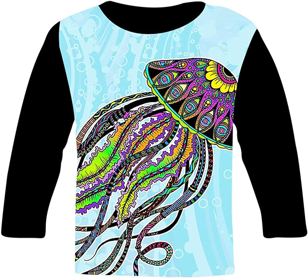 Kids Custom Electric Jellyfish T-Shirts Boys Girls Teenager Tee Shirt Children Youth Graphics Tees