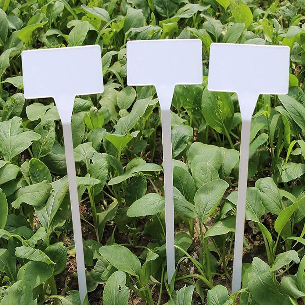 KINGLAKE GARDEN White Plastic Plant Labels,11.8 inch Outdoor Waterproof Durable Nursery Garden Markers,Plant Markers for Flower pots Plant 15 Pack