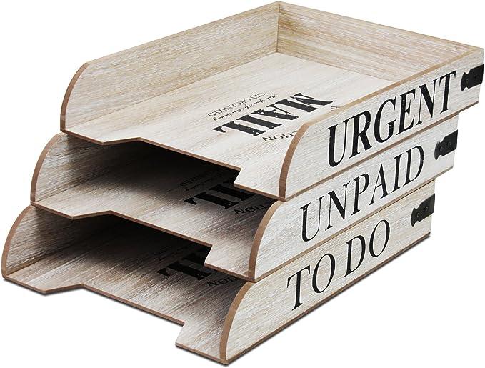 3er Set Holz Ablagef/ächer Mail in 3 Sorten Organizer Briefablage Postablage Ablagesystem 31x22,5x5,5cm stapelbar