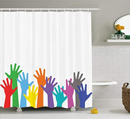 Lunarable Hippie Shower Curtain Colorful Children Hands Lifted Upward Global Peace Community Hope Design