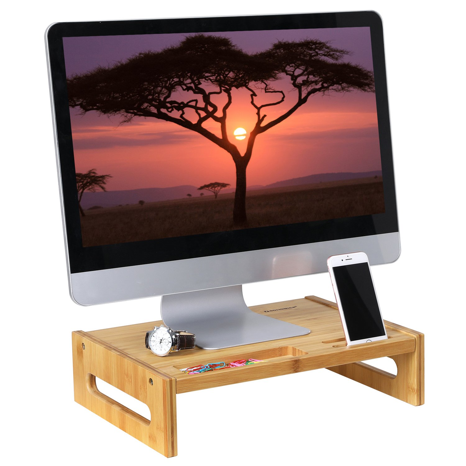 SONGMICS Bamboo Monitor Stand Desktop Riser Desk Organizer with Storage Slots for Computer Laptop TV Natural ULLD211N by SONGMICS