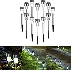 Sowsun Solar Pathway Lights Outdoor ,Solar Powered Landscape Garden Lights for Pathway ,Lawn, Patio, Yard,Path,Walkway Decoraiton-12 Pack(white)