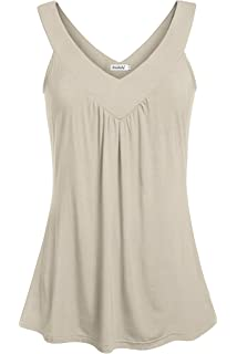 aac254b7d9e39 Ninedaily Women Comfy Sleeveless Tunic Top Pleated V Neck Tanks Vest Summer