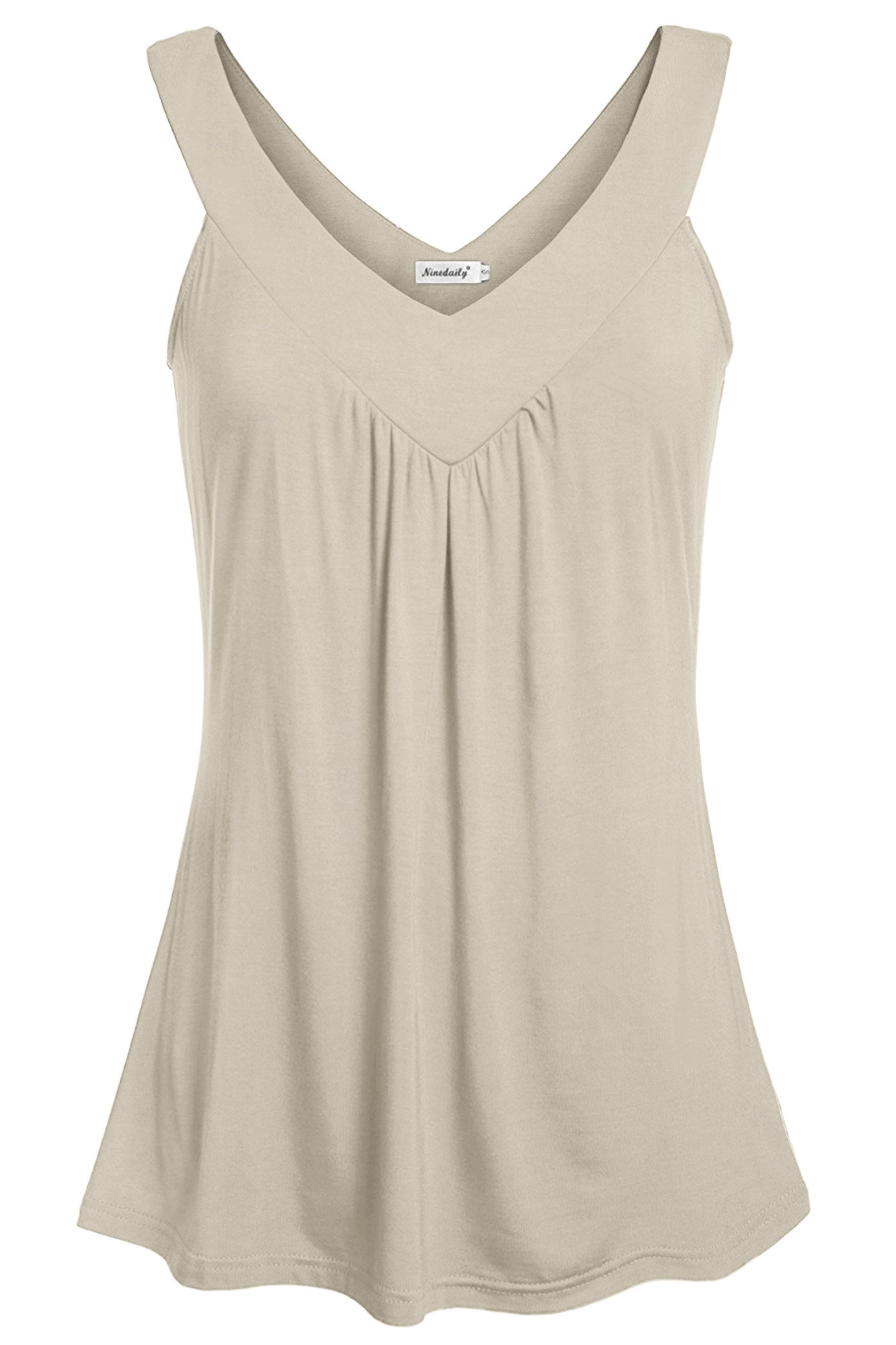 Ninedaily Women Summer Tunics for Leggings, Casual V Neck Sleeveless Blouse Tops for Work Business Casual Office Appearl Beige Size S