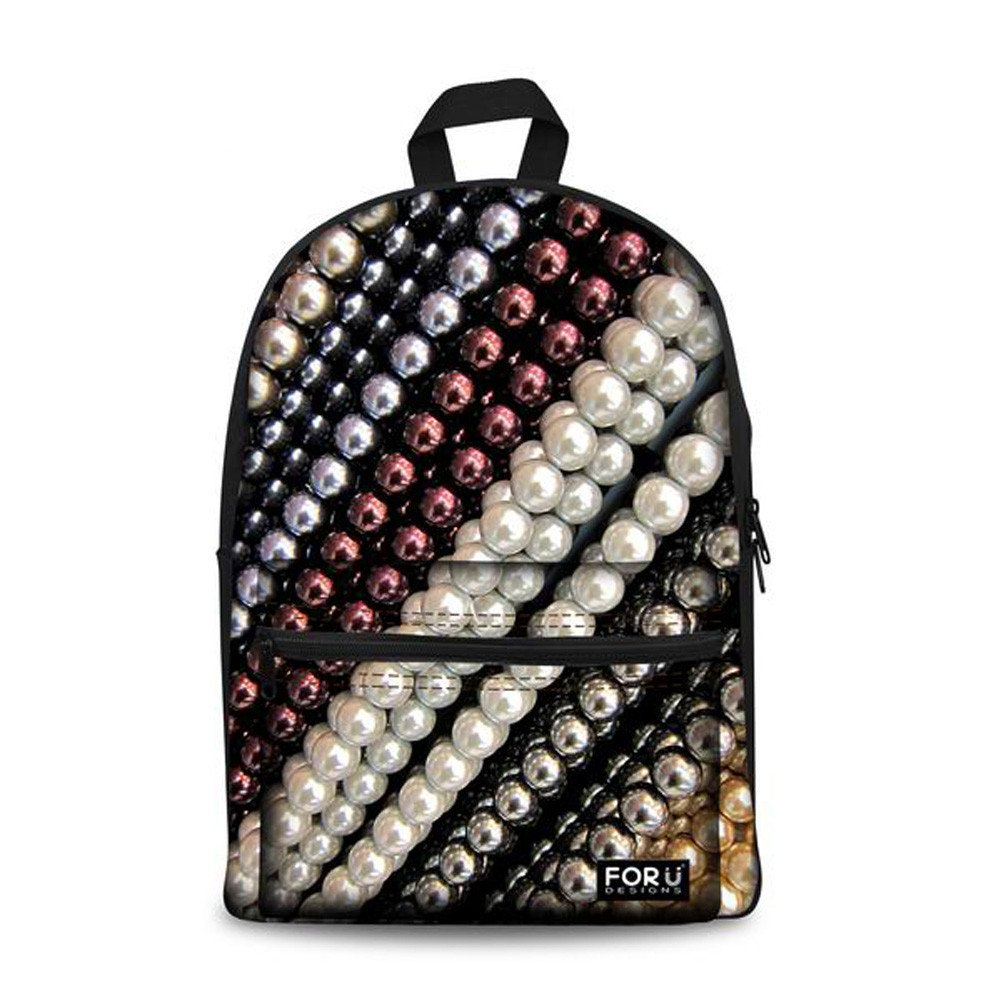 FOR U DESIGNS Fashion Bright Jewelry Print Casual Campus School College Girl Boy Book Bag Casual Daypack