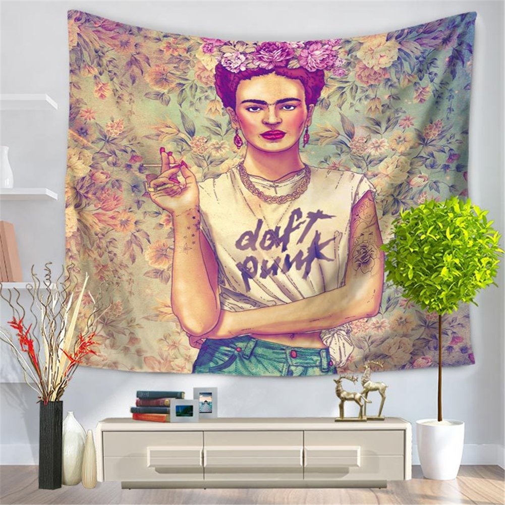 Shukqueen Tapestry Afternoon Tea Wall Tapestry Bohemian Mandala Hippie Tapestry for Bedroom Living Room Dorm 60 H x 80 W, Frida-3