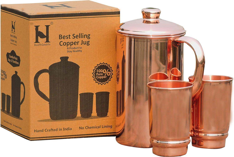 Puro Cobre Agua Jarra con 2 vaso de cobre | jarra y vaso de cobre para beneficios Ayurveda salud por healthgoodsin