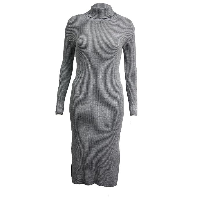 New Womens Ladies Polo Turtle Neck Long Sleeve Mini Bodycon Party Dress 8-14