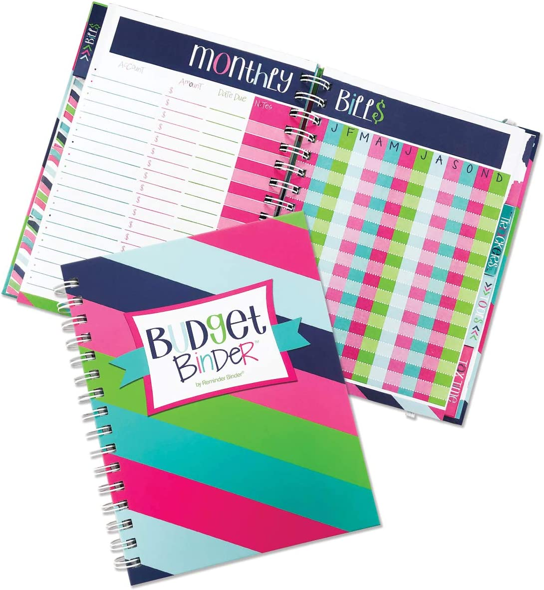 12-Month Budget Planner Bill Tracker Organizer w/Calendar & Pockets for Financial Management 354 Stickers | Budget Binder