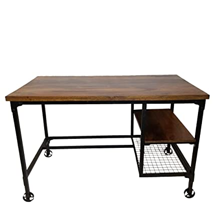 Benzara BM123677 Cori Industrial Design Office/Computer Desk with Two Side  Shelves, Brown and - Amazon.com: Benzara BM123677 Cori Industrial Design Office/Computer