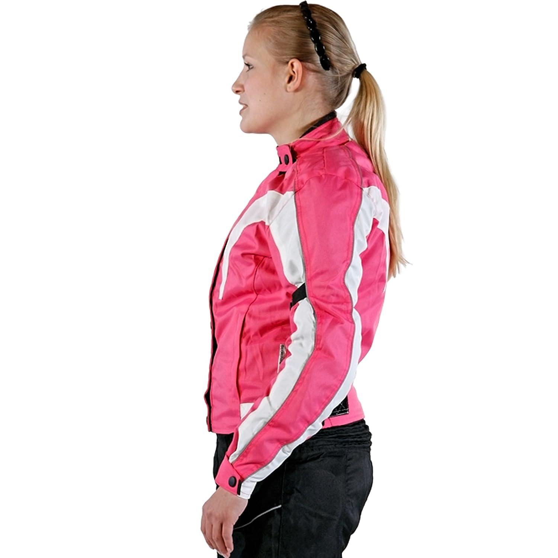 color rosa lemoko Mujer textil Chaqueta de moto