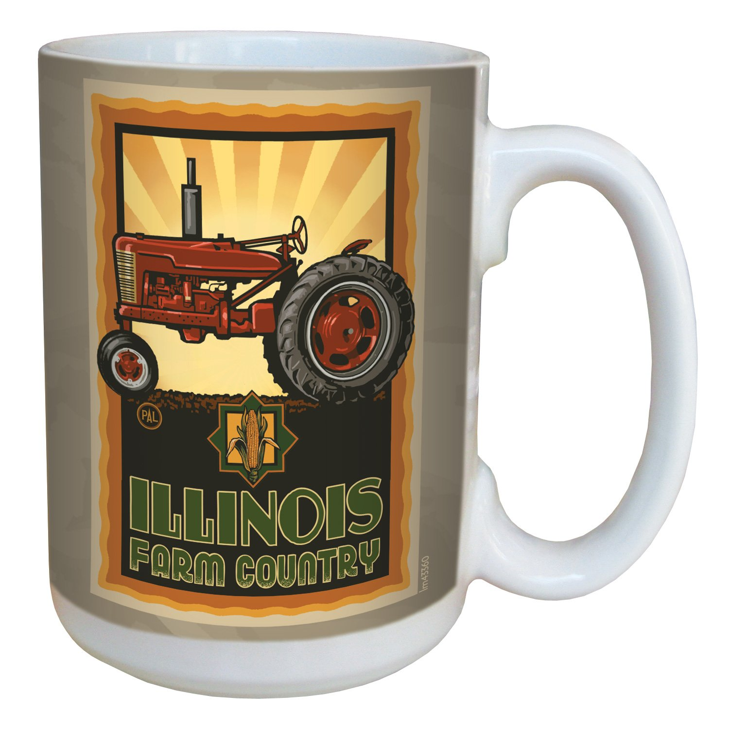 15-Ounce Tree-Free Greetings lm43360 Vintage Illinois Farm Country Tractor by Paul A Multicolored Tree Free Lanquist Ceramic Mug with Full-Sized Handle