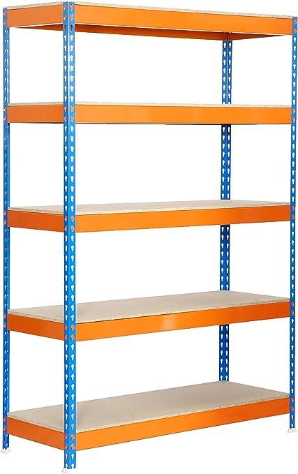 Estantería metálica de media carga Bricoforte 5 estantes Azul/Naranja/Madera Simonrack 2000x1000x600 mms - Estantería media carga - Estantería industrial - 300 Kgs de capacidad por estante: Amazon.es: Bricolaje y herramientas