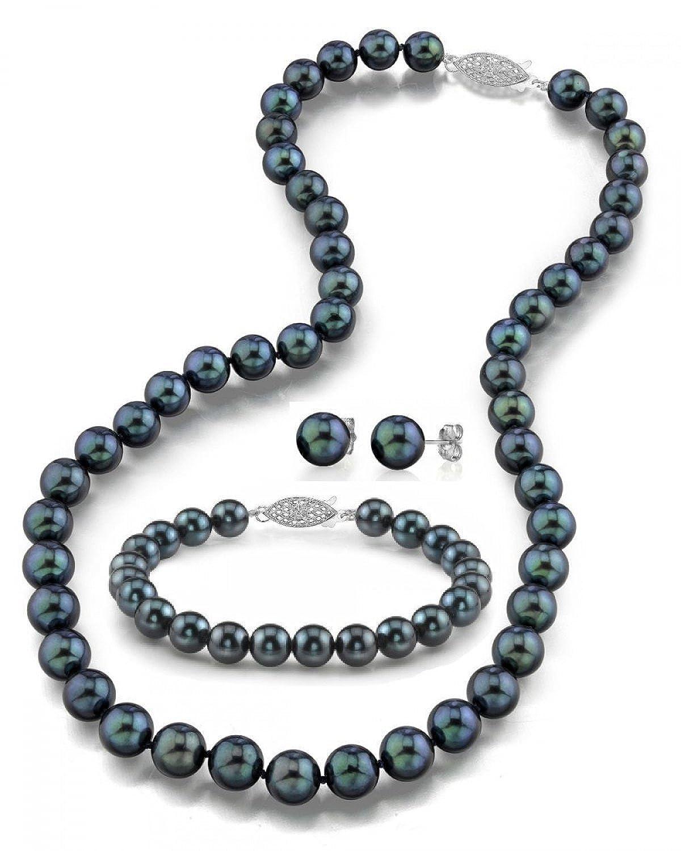 "14K Gold Black Akoya Cultured Pearl Necklace, Bracelet & Earrings Set, 18"" - AA+ Quality"