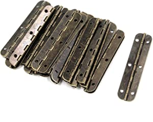 """Tulead Retro Bronze Door Hinges Butt Hinges Iron Folding Hinge Piano Hinges Cabinet Hinges Jewelry Box Hinges 2.56""""x0.59"""" Cabinet Gate Closet Hinge Pack of 24 with Mounting Screws"""