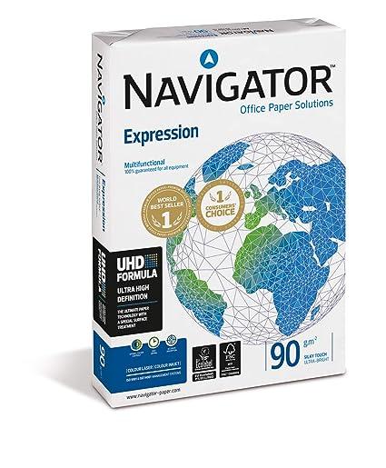 Navigator Expression - Paquete de 500 folios de papel para impresora/fotocopiadora 90g/m² A4, color blanco