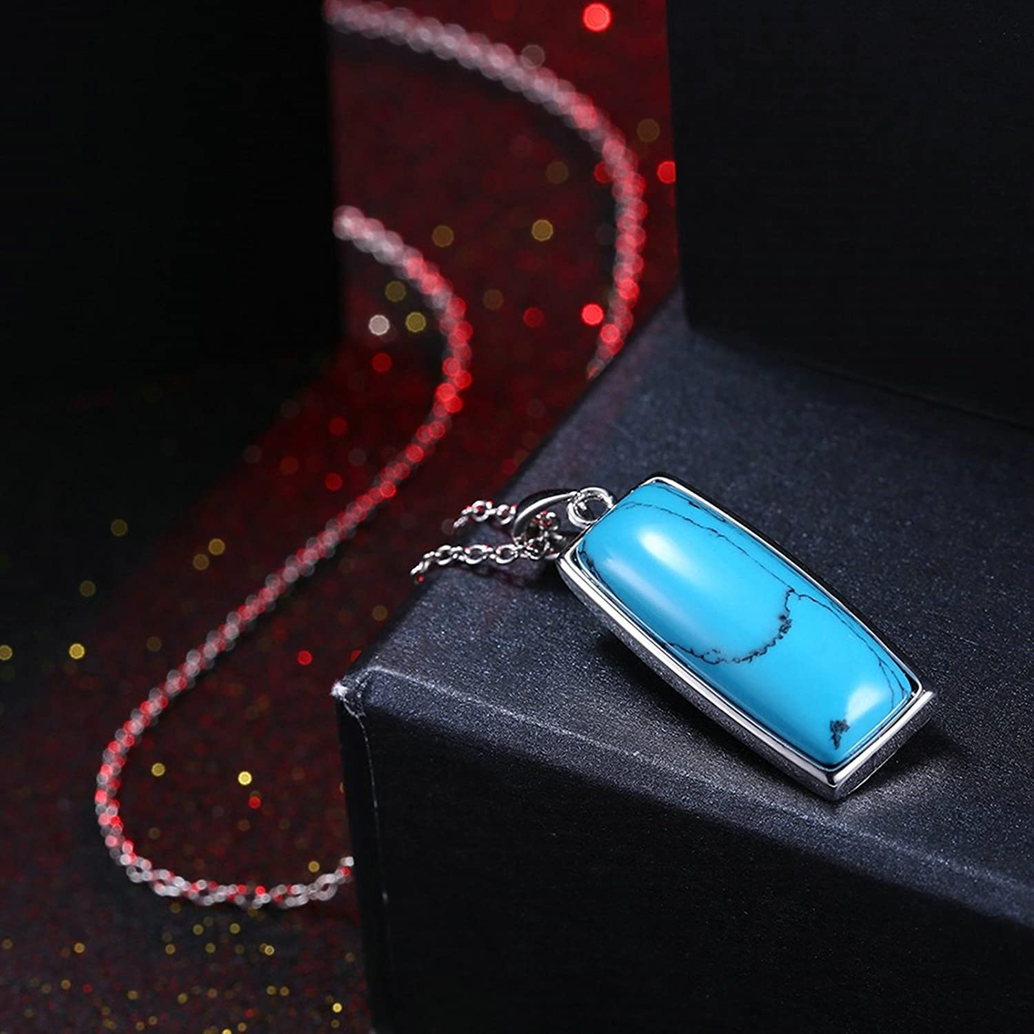 MoAndy Jewelry Silver Plated Women Necklace Chain Square Turquoise Green Length 45+5CM