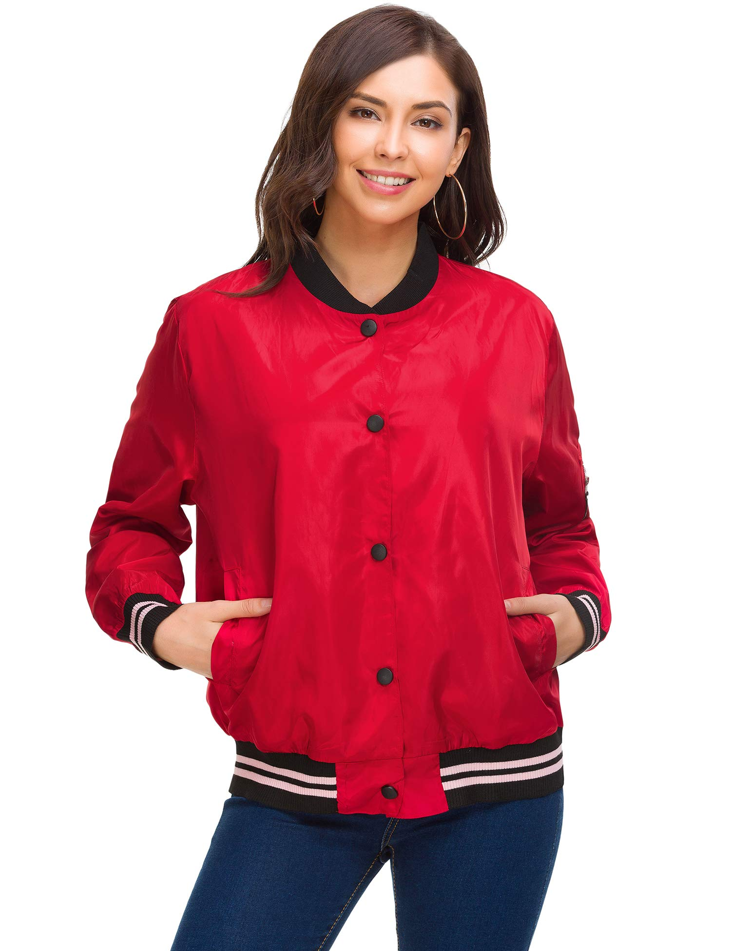 ZHENWEI Women Classic Quilted Lightweight Flight Bomber Jacket Coat Button Down Multi-Pockets Ribbed Trim Lined Biker Jacket