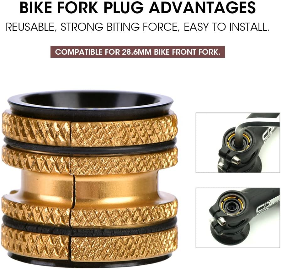 Gold Aluminum Alloy Bicycle Front Fork Headset Top Key Expander Aluminum Alloy Bicycle Front Fork Headset Top Key Expander VGEBY Bike Fork Headset Expanded Plug