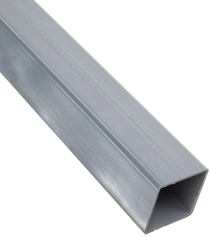 0.078 Wall Gray PVC-Hollow Rectangular Bar 24 Length 1-3//8 X 1-3//8 NSF 61