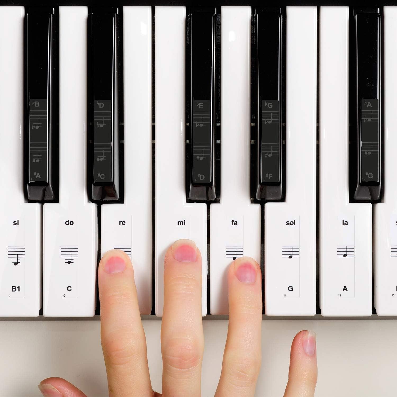 Chinco Pegatina de Piano Pegatinas de Teclados de Piano para Teclas 32, 37, 54, 61, 88 Reemplazo Pegatinas de Piano con Paño de Limpieza Bastoncillo ...