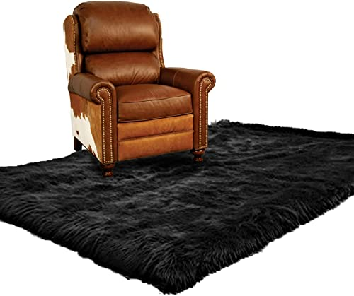 Premium Faux Fur Sheepskin Area Carpet/Black Accent Pelt Rug / 2 feet x 4 feet/Bear skin/New