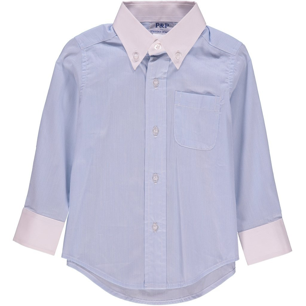 P P Baby Boy Spring Long Sleeve Classic Blue White Stripe Dress Shirt 2 Years