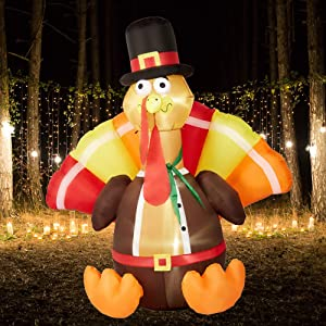 SUPERJARE 6 Ft Thanksgiving Inflatable Turkey, Airblown Decoration with LED Light, Indoor & Outdoor, Yard & Lawn Decor