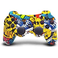 PS3 Controller Wireless, Yellow Graffiti Style Remote Gamepad Dual Motors Gaming Controller for Playstation 3 with…