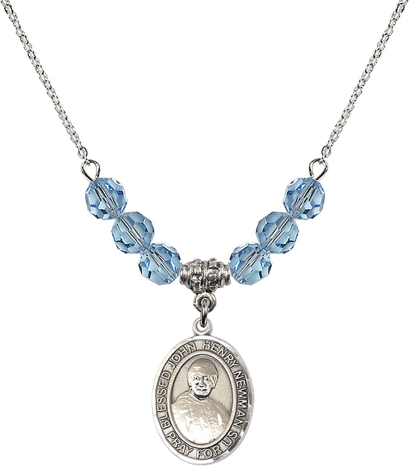 18 Inch Rhodium Plated Necklace w// 6mm Blue March Birth Month Stone Beads and Blessed John Henry Newman Charm