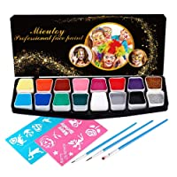 Mieutoy Kit Trucco Viso Body Paint Professionale Set Pittura Viso Make Up 16 Colori 2 Glitter 3 Spazzole 2 Sticker Regalo per Compleanno/Pasqua/Carnevale/Natale per Bambini