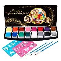 Mieutoy Pintacara Pintura Cara Niños 16 Colores Maquillajes Disfraces Infantil Facial con Pegatina Fluorescente Pintura Halloween Lápiz de Pintar Regalos para Fiestas Carnaval