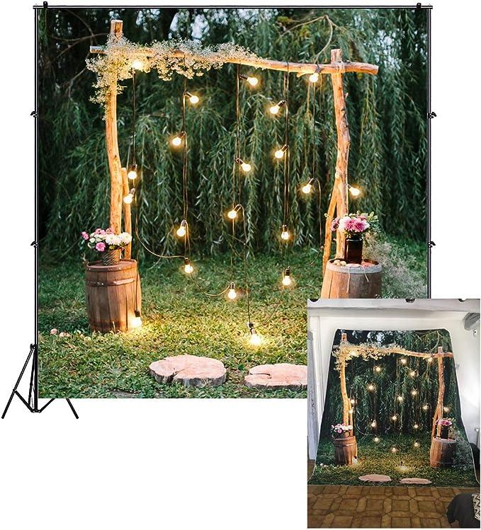 Cassisy 2,5x2,5m Vinilo Boda Telon de Fondo Al Aire Libre Ceremonia de la Boda Arco de la Boda Fiesta de los bosques Fondos para Fotografia Los Amantes Photo Studio Props Photo Booth: