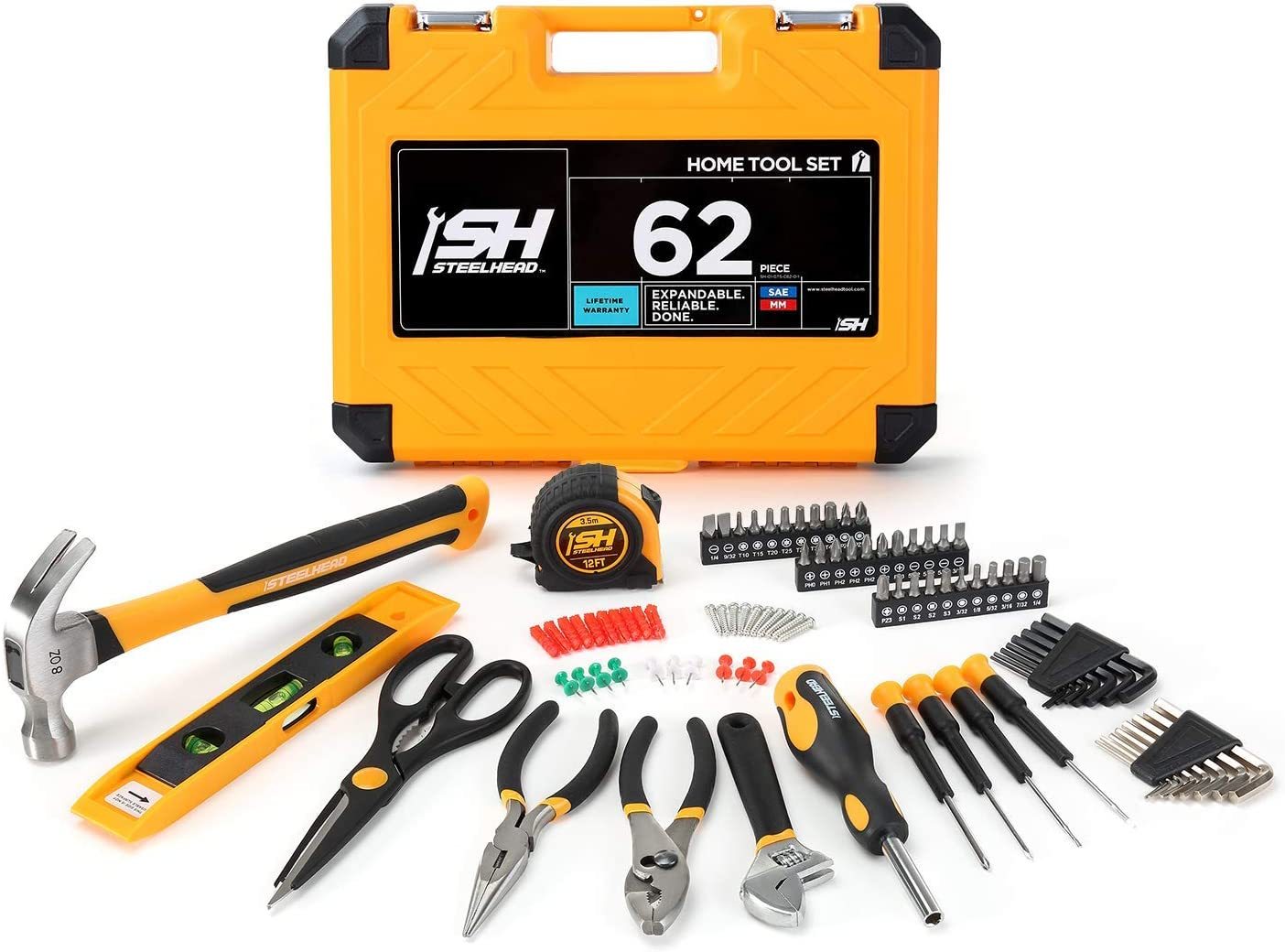 """STEELHEAD 62-Piece Tool Set, Screwdriver Handle, 33 Bits, Pliers, Tape Measure, 9"""" Torpedo Level, Hammer, Scissors, Wrench, Heavy-Duty Reinforced Case, Great for Home, Office, Dorm, USA-Based Support"""