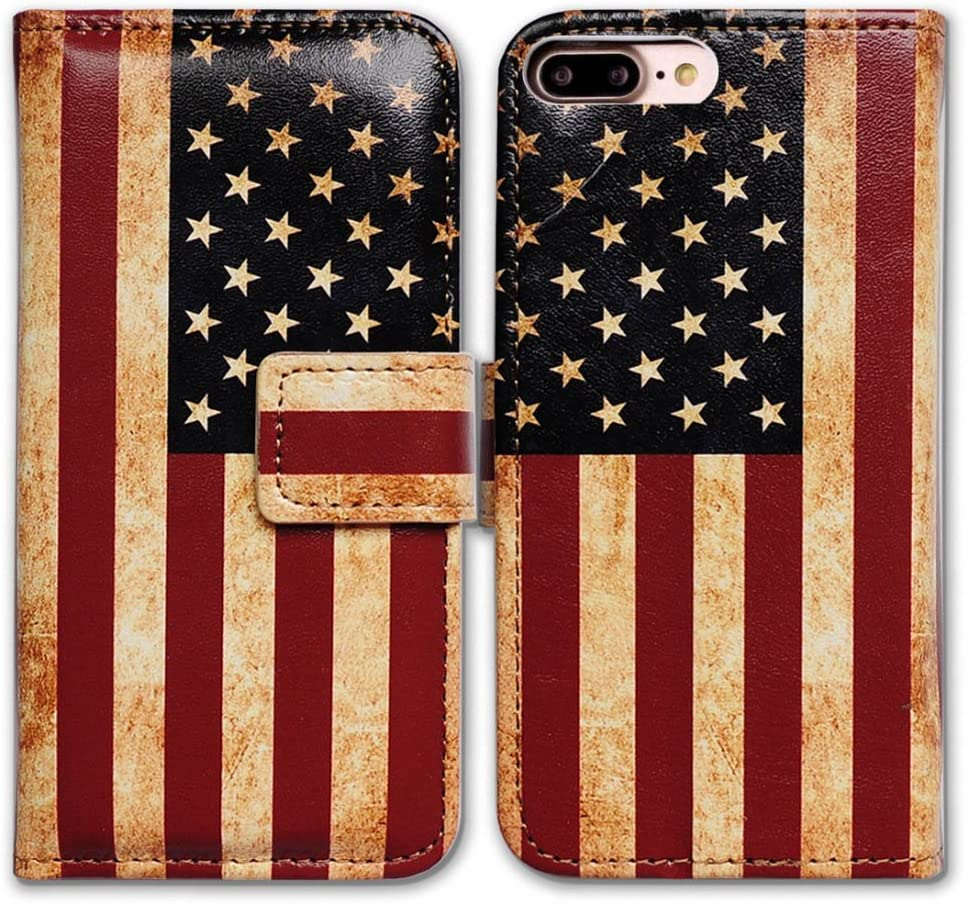 iPhone 8 Plus Wallet Case,iPhone 7 Plus Wallet Case, Bcov Retro American Flag Flip Leather Case Cover with Credit Card Slot ID Card Holder Kickstand for iPhone 8 Plus/iPhone 7 Plus