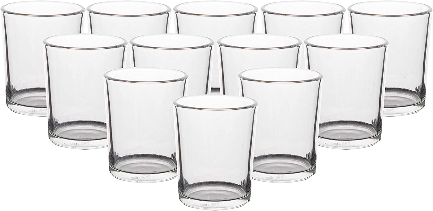 Glass Tealight Candle Holder Set of 12, Clear Votive Candle Holder, Mercury Candle Holder for Wedding, Party, Home Dec. and Centerpiece (Clear)