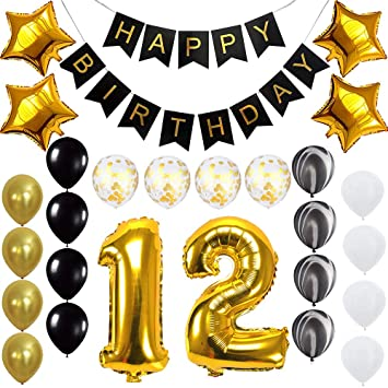 Age 12 10 Pack Happy Birthday Balloons 12th Birthday Party Balloons Multi color