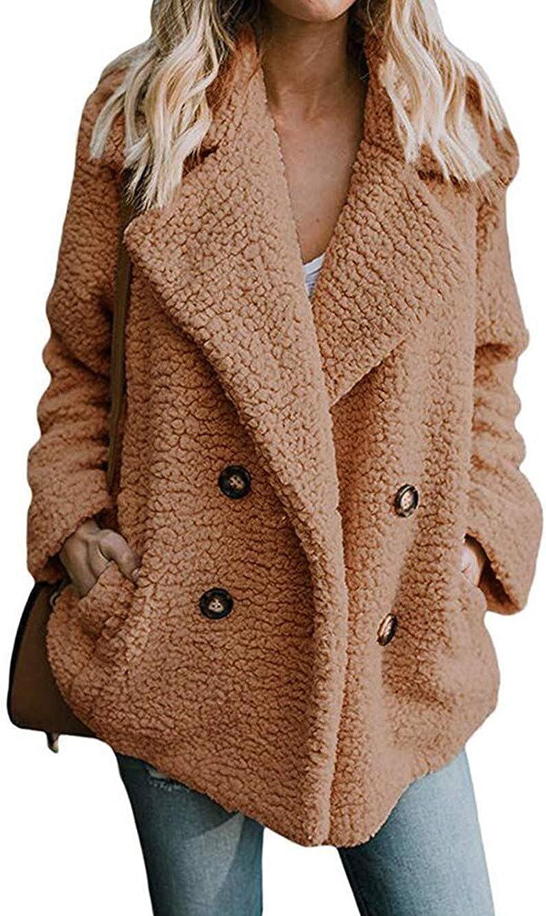 Famulily Women's Winter Warm Open Front Fleece Fluffy Jacket Coat Outwear with Pockets