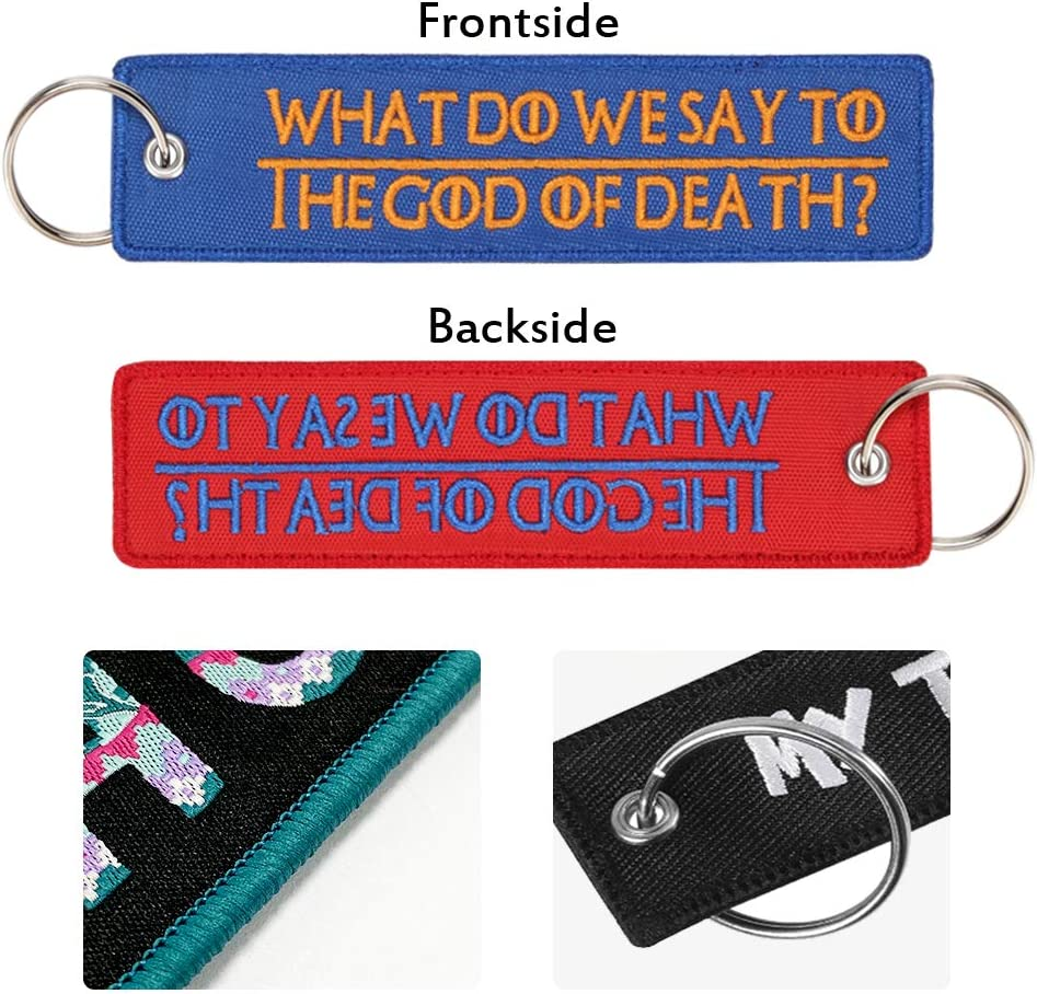 Double Sided Key Tag New Embroidery Key Fobs for Motorcycles Cars,Scooters and Gifts Personalized Keyrings Embroidered Customized Keychain 1.2X5