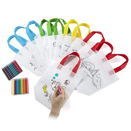Comius Lote 12 Bolsas para Colorear,DIY Bolsas Infantiles para Colorear,12 Diferentes Diseño + 24 Pasteles de Aceite Ideal para Regalos Bolsas para ...