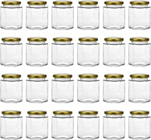 Tebery 20 Pack 6oz Hexagon Glass Jars with Gold Plastisol Lined Lids and Labels Spice Jars Crafts Canning Jars for Jam Honey Jelly Wedding Favor