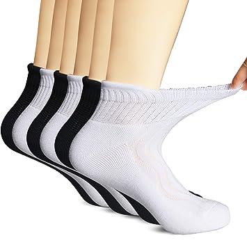 MD 6 Pairs Non-Binding Womens Moisture Wicking Cushion Quarter Bamboo Diabetic Socks 9-11 3Black/3White