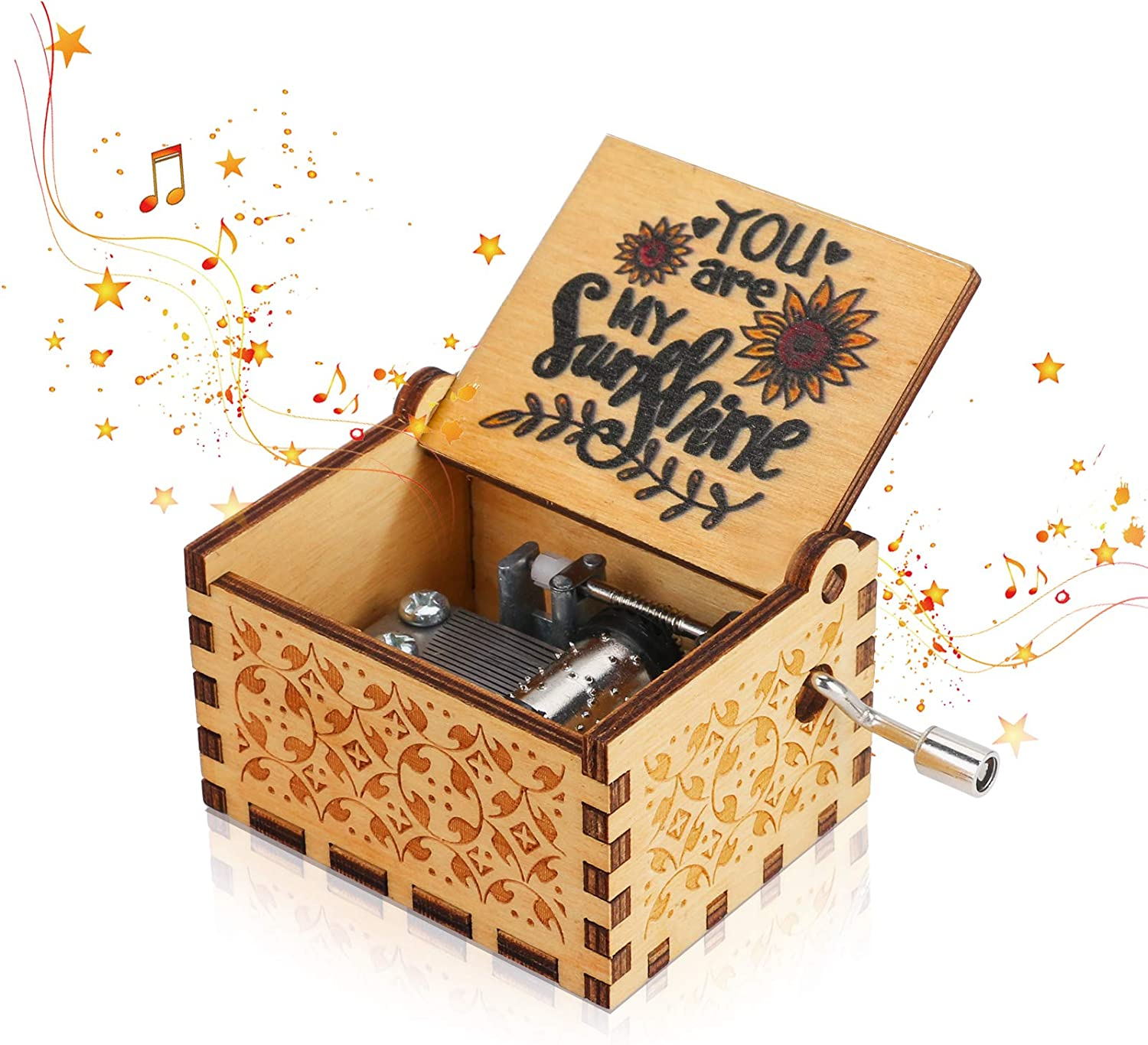 You are My Sunshine Wooden Music Box, BicycleStore Hand Crank Music Boxes Vintage Wooden Sunshine Classic Musical Box Cute Ornaments for Birthday/Valentines Day/Thanksgiving Day/Christmas
